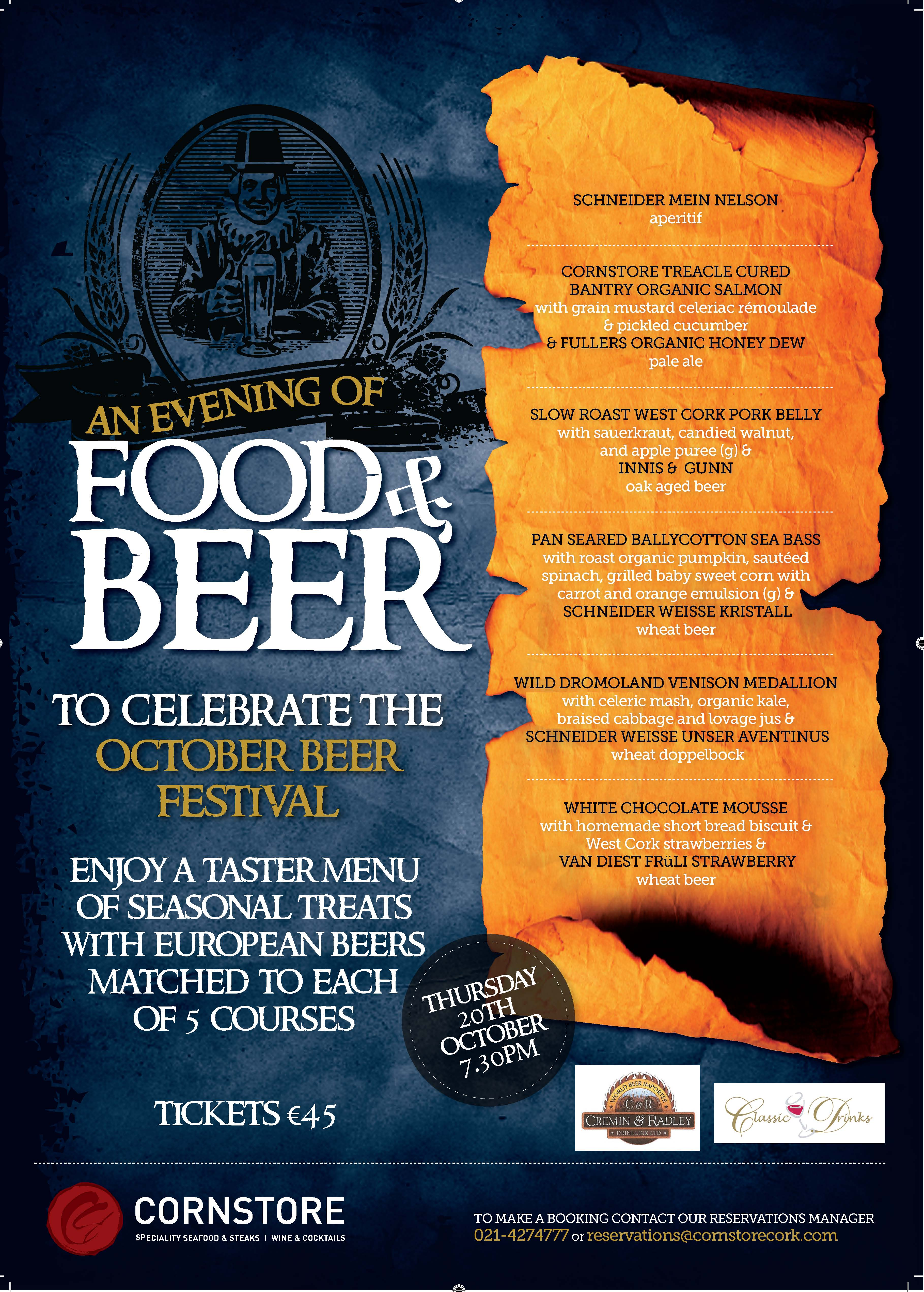 Cornstore Evening of Beer and Food