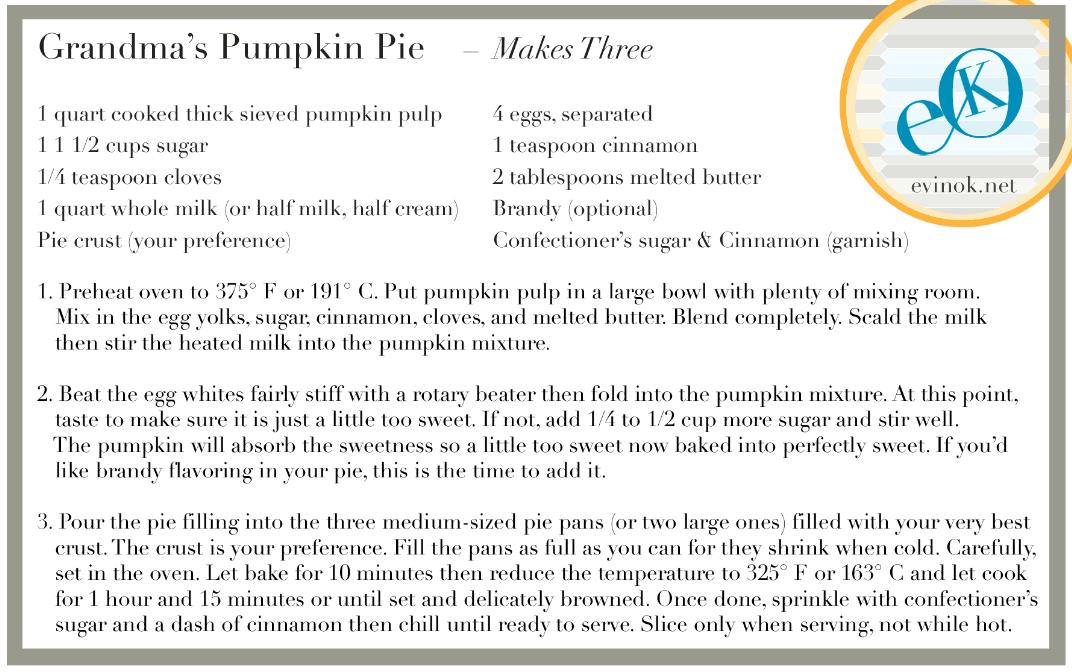Grandma's Pumpkin Pie Recipe