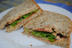 Soy bacon BLT with roasted red pepper mayo