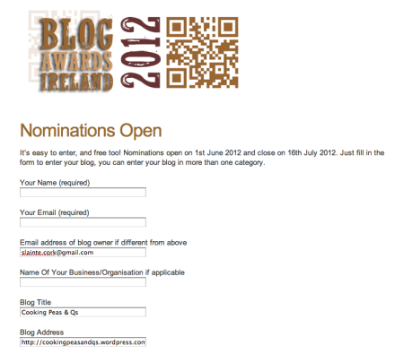 Blog Awards Ireland Nomination Form Sample