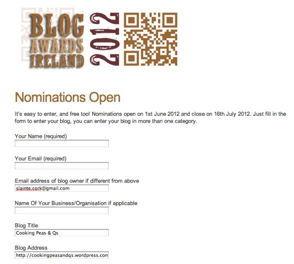 Blog Awards Ireland Nomination Form Sample